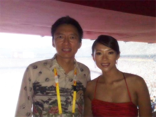 张朝阳与章子怡共同观看奥运开幕式